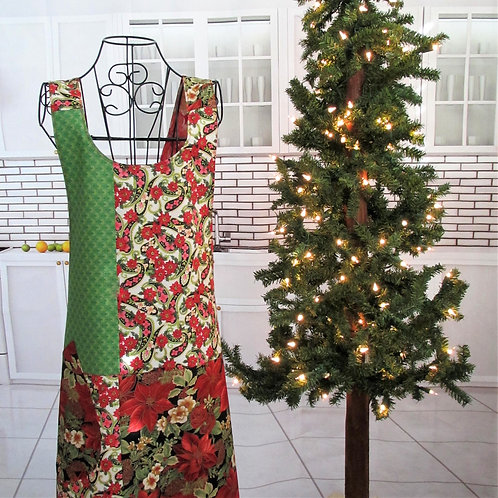 Red & Green Holiday Reversible Smock Apron w/Adjustable Crisscross Straps