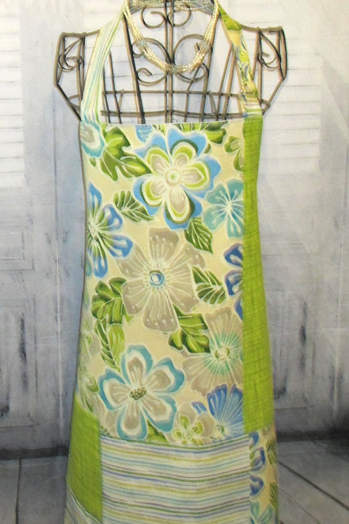 Lime Green & Turquoise Reversible Bib Apron w/Adjustable Neck Strap