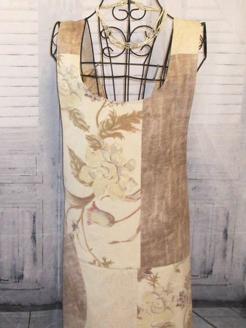Cream & Tan Flowered Reversible Smock Apron w/Adjustable Crisscross Straps
