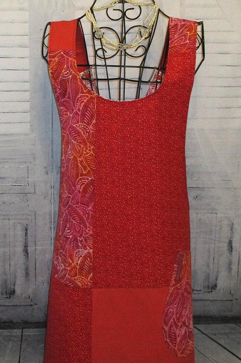 Red, Orange & Pink Reversible Smock Apron w/Adjustable Crisscross Straps