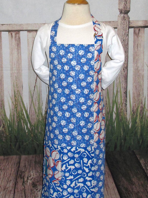 Red, White & Blue w/Baseballs Reversible Kids Bib Apron w/Neck Strap