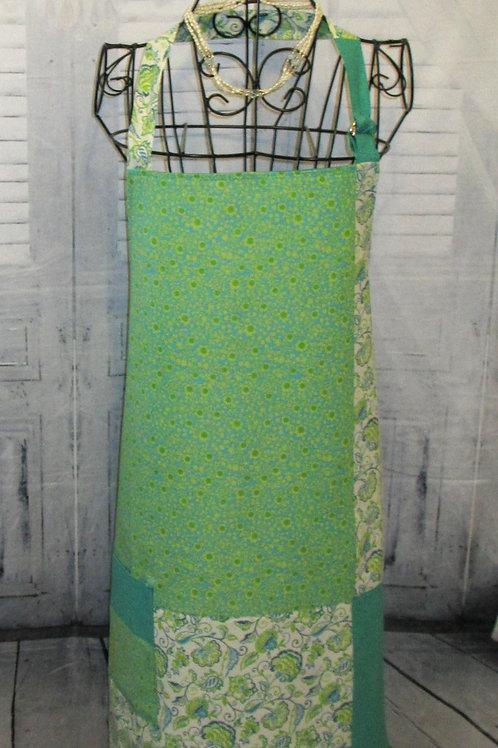 Lime Green & Blue Paisley Reversible Bib Apron w/Adjustable Neck Strap