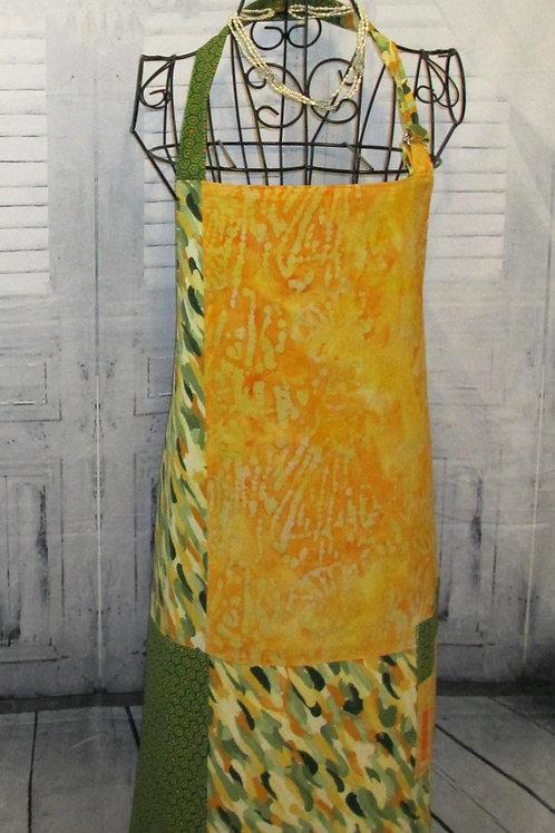 Orange, Yellow & Green Reversible Bib Apron w/Adjustable Neck Strap