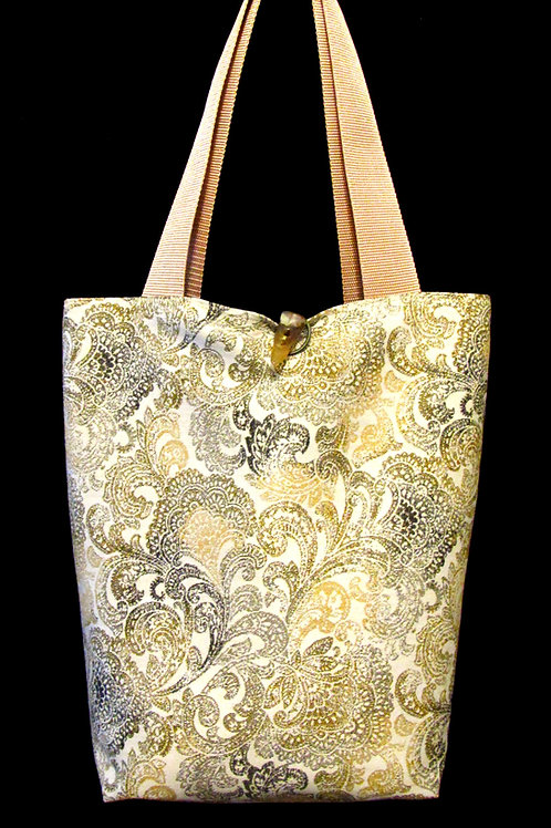 Gold, Black & Tan Paisley Tapestry Bag
