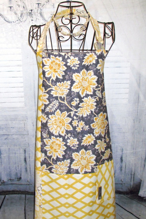 Grey with Yellow & White Flowers Reversible Bib Apron w/Adjustable Neck Strap