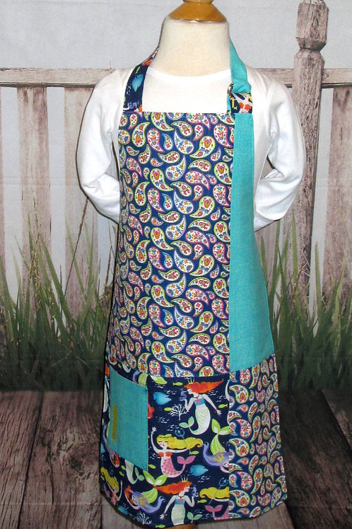 Blue & Teal w/Mermaids Reversible Kids Bib Apron w/Neck Strap