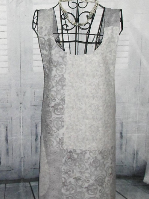 Light Gray Reversible Smock Apron w/Adjustable Crisscross Straps