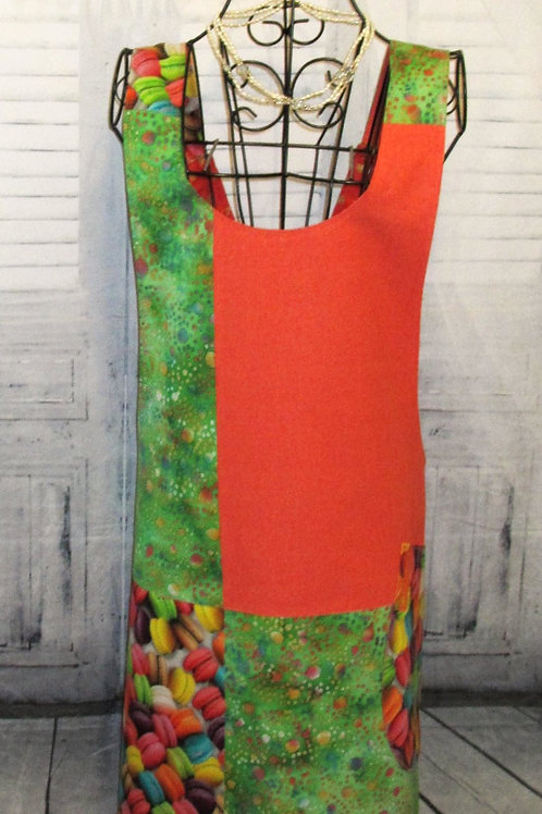 Orange & Green Macaroon Reversible Smock Apron w/Adjustable Crisscross Straps