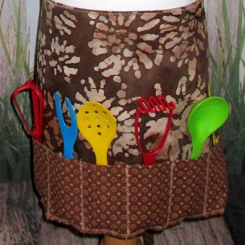 Kids Half Apron with Back Ties and Cooking Utensils
