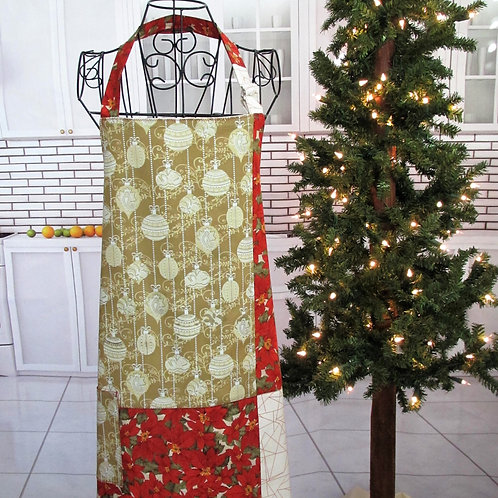 Gold & Red Holiday Reversible Bib Apron w/Adjustable Neck Strap