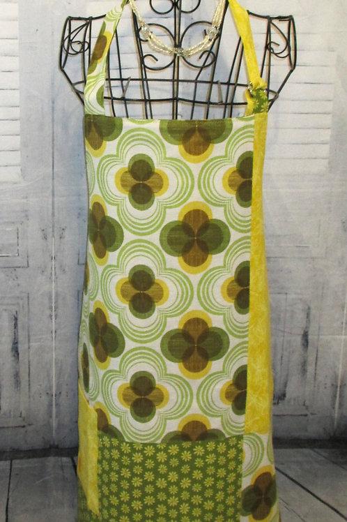 Yellow & Green Reversible Bib Apron w/Adjustable Neck Strap