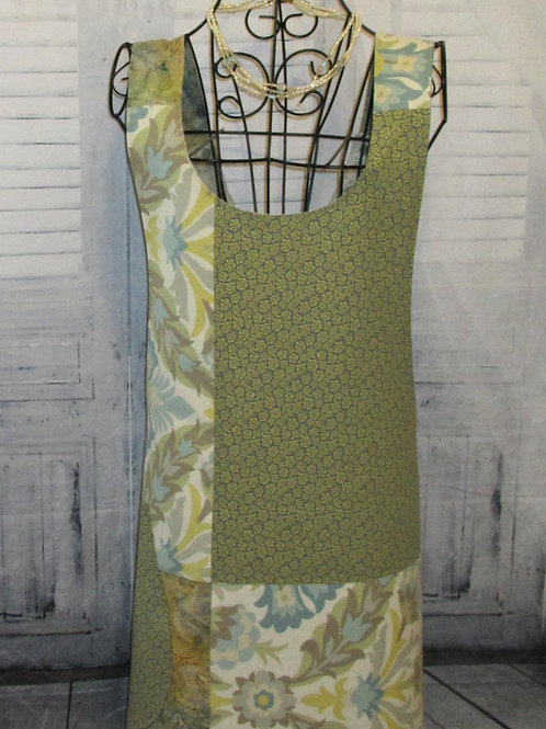 Green, Blue & Beige Reversible Smock Apron w/Adjustable Crisscross Straps