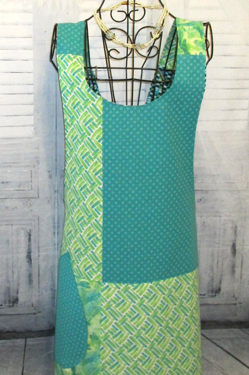 Turquoise and Lime Green Reversible Smock Apron w/Adjustable Crisscross Straps