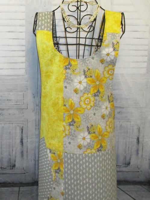 Yellow & Gray Flowered Reversible Smock Apron w/Adjustable Crisscross Straps