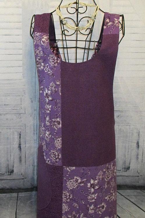 Purple & Plum Reversible Smock Apron w/Adjustable Crisscross Straps