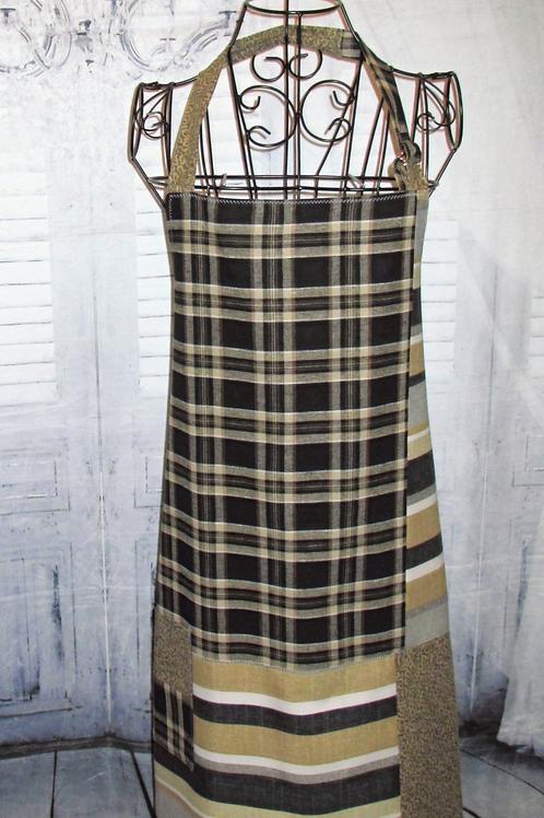Black, Tan & Grey Checkered/Stripes Reversible Bib Apron w/Adjustable Neck Strap