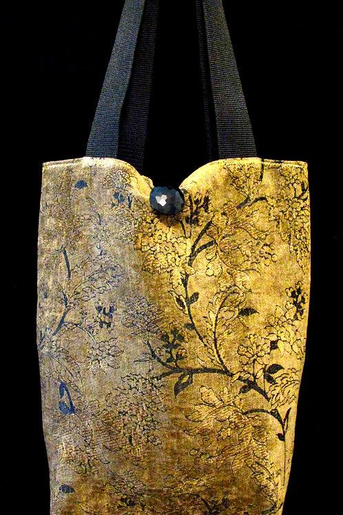 Black & Gold Crushed Velvet Tapestry Bag