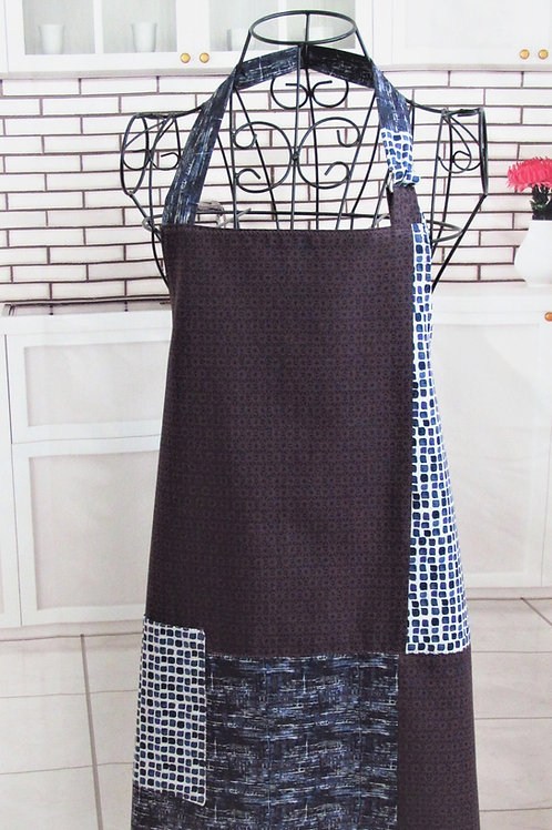 Deep Purple, Gray & Black Reversible Bib Apron