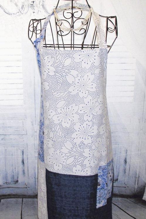 Navy, White & Light Blue Flowers Reversible Bib Apron w/Adjustable Neck Strap