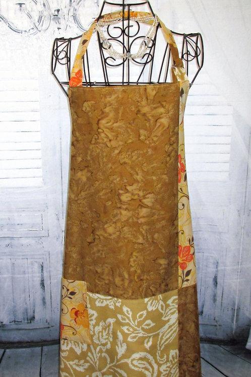 Gold & Brown Fall Medley Reversible Bib Apron w/Adjustable Neck Strap