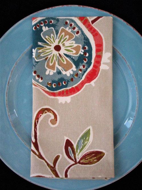 Multi Colored Floral Cloth Napkin