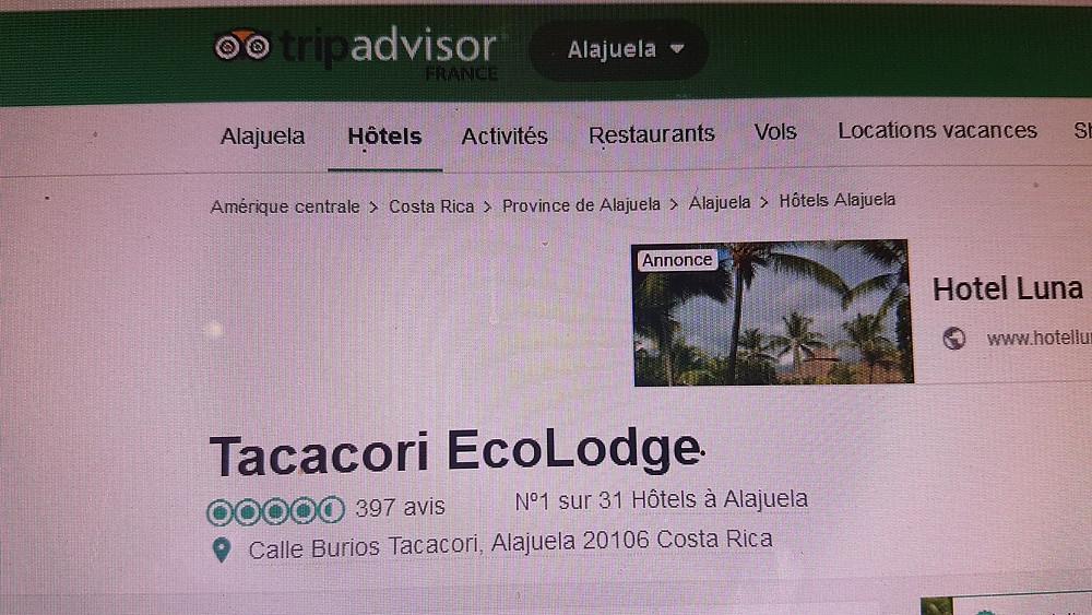 Copie d'écran du classement de TACACORI EcoLodge à Alajuela sur Booking.com