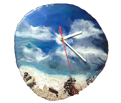 Horloge paysage mer en résine