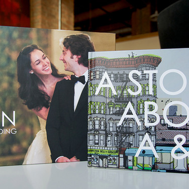 """A Story About A&N"" was created using a couple's photos, illustrations, and cards they exchanged. The best part – a proposal at the end! She said yes, and a year later we were thrilled to design a wedding book for the happy couple."