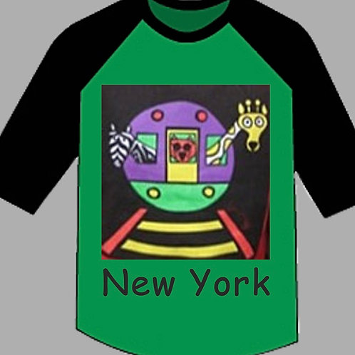 NYC Subway 3/4 Toddler Youth Raglan Tee