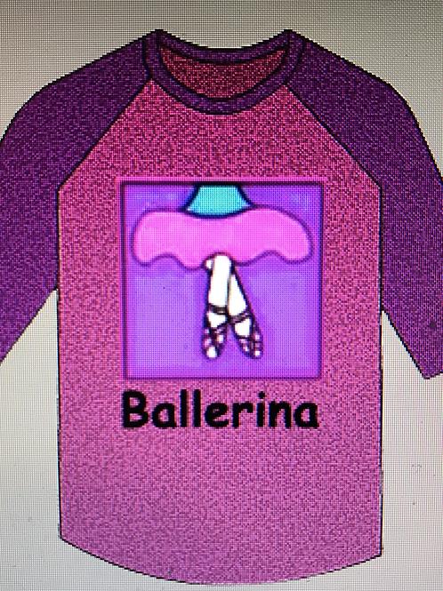 Ballerina 3/4 Sleeve Baseball Style Tee
