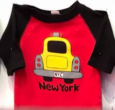 NYC Taxi Baseball Tee Red & black.jpg