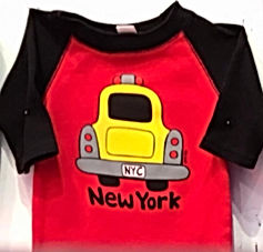 NYC Taxi Baseball Tee Red & black.jpg
