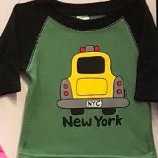 NYC Taxi 3/4 Baseball Baby Tee