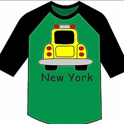 NYC Taxi 3/4 Toddler Youth Raglan Tee