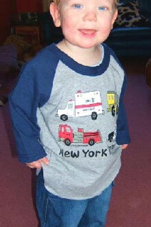 NYC Heroes 3/4 Sleeve Raglan Kids Tee