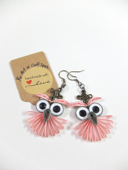 Big Eye Pink  Lacey Owl Earrings