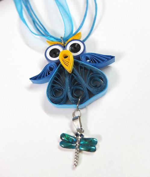 Cute Blue Owl Pendant