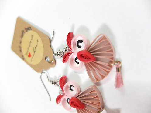Quirky Owl Earings - Pinky Red