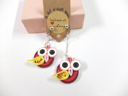 Big Eye Bird - Red and pink Earrings