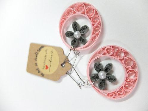 Grey Floral Pink Moon Earrings