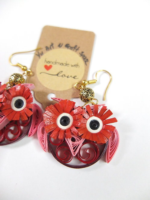 Quirky Eyelash Owl Earrings