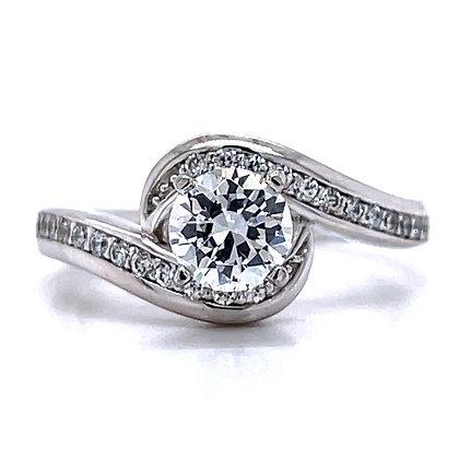 Bypass Swirl Diamond Engagement Ring Mounting