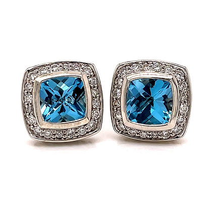 David Yurman Blue Topaz & Diamond Earrings