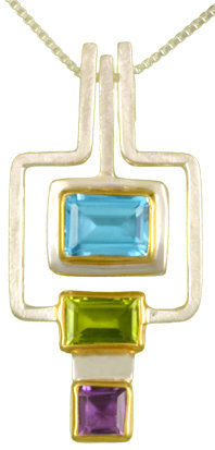 Geometric Squares Necklace