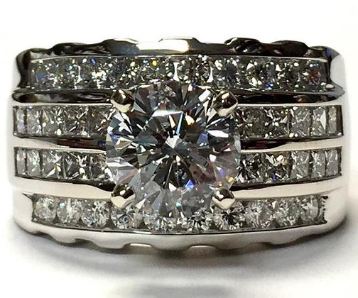 Wide Band Diamond Engagement Ring Mounting
