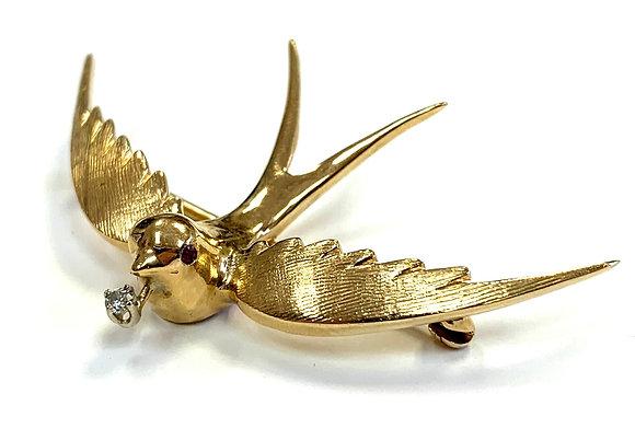 Flying Bird Pin w/ Diamond & Ruby
