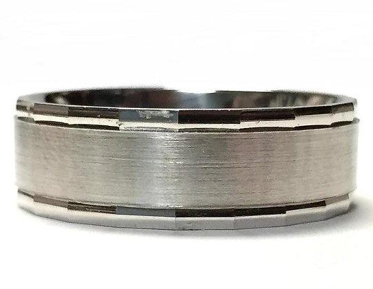 Brushed Center Wedding Ring With Faceted Rails