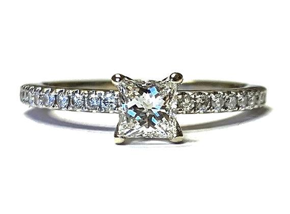 Princess Cut Diamond Engagement Ring w/ Sapphire Accent