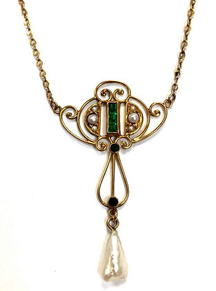 Simulant Emerald & Pearl Necklace