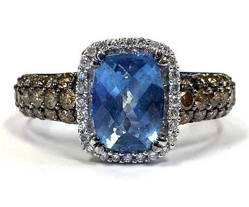 Levian Swiss Blue Topaz and Brown Diamond Ring